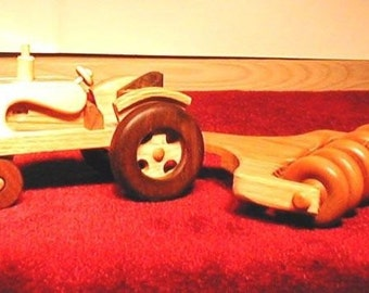 Handcrafted Wooden Tractor with Disk