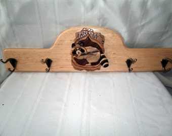 Racoon Coat Rack Intarsia Handcrafted