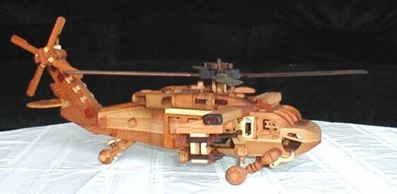 Black Hawk Helicopter Handcrafted Wood