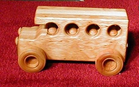 Jumping Kids Bus handcrafted wood