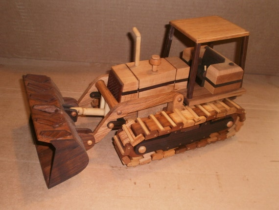 Wooden Bulldozer w bucket handcrafted