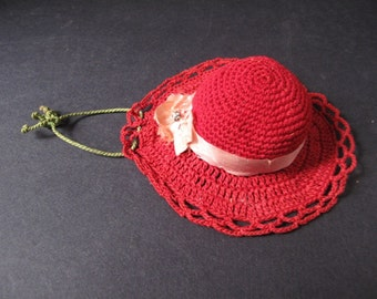 Hand Crocheted  Hat Shaped Red Pin Cushion Circa 1950s
