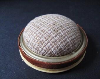 Hand Made Jar Top Pin Cushion Circa 1960s