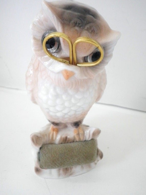 Collectible Owl Pin Cushion With Scissors, West Germany Circa 1960s