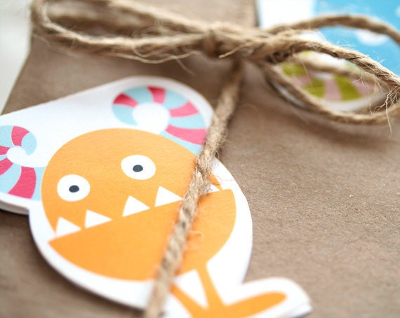 Monster gift tags, 4 printable monsters  by Lafabriqueabricole on Etsy