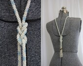 Sky and Ivory Pearly Flapper Necklace