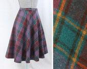 1970s Autumnal Plaid Wool Blend Skirt - XS