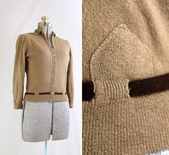 RESERVED 1950s Dalton Brown Cashmere Cardigan Sweater - M