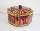1950s Candy Tin // Vintage Pink Gold HORNER'S English CANDY TIN