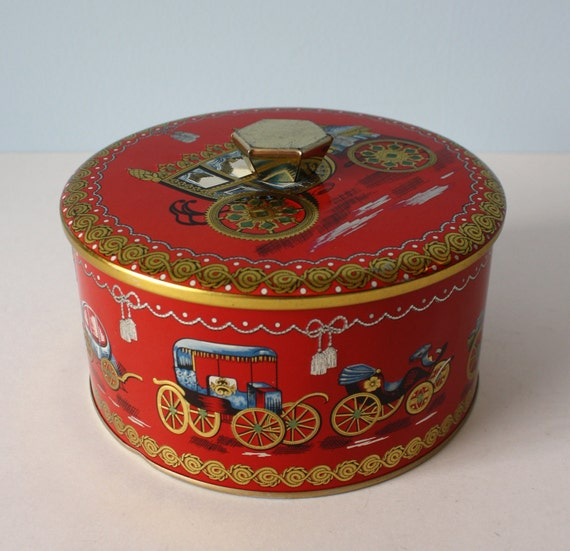 1950s Candy Tin // Red With Gold Trim EMBOSSED Carriages Baret Ware Art Grace Made in England
