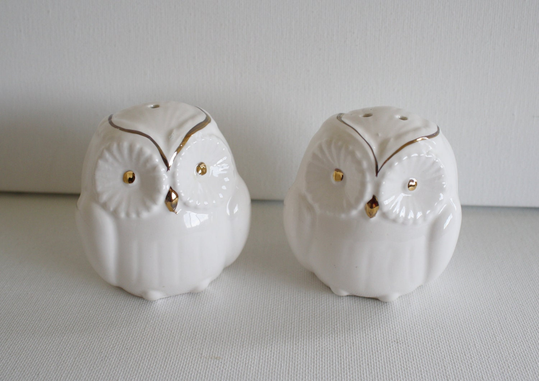 Vintage White Ceramic Salt And Pepper Shakers