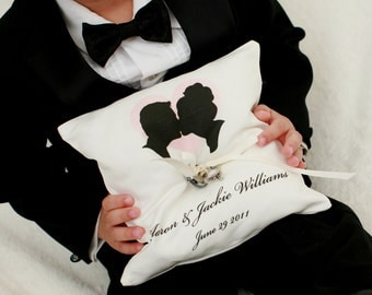Custom Silhouette Ring Bearer Pillow made from your photos by Simply Silhouettes for wedding or commitment ceremony