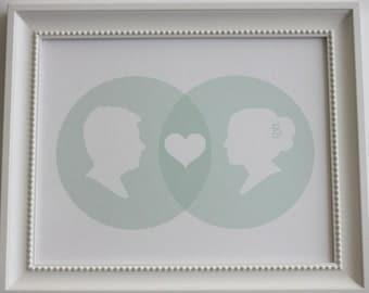 Custom Silhouette Venn Diagram Print - 8x10 - Made from your photos