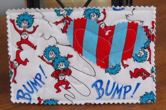Unique Quilted Postcard - Dr. Seuss Cat in the Hat - Thing 1 and Thing 2