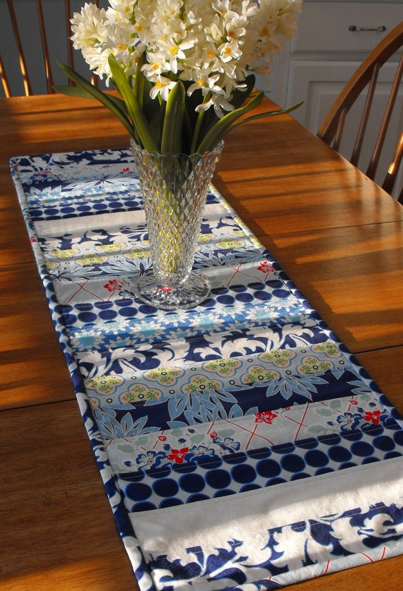 Blue and White Quilted Table Runner - England Swings