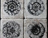 Art Nouveau Flower Inspiration - Tumbled Marble Coaster set of 4