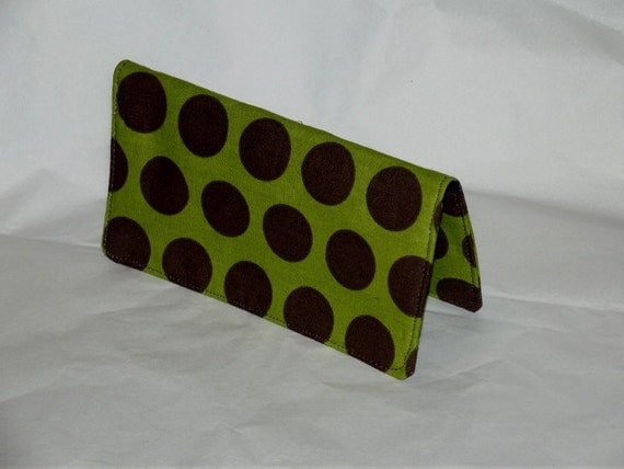 Green with Brown Circles Fabric Checkbook Cover