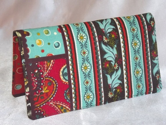 Checkbook Cover -  Country Quilt Print - blue and brown - Fabric