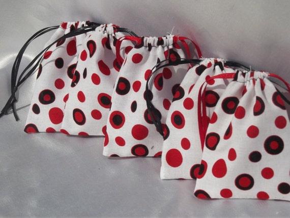 Red Polka Dot - Medium Drawstring Pouches -5pcs