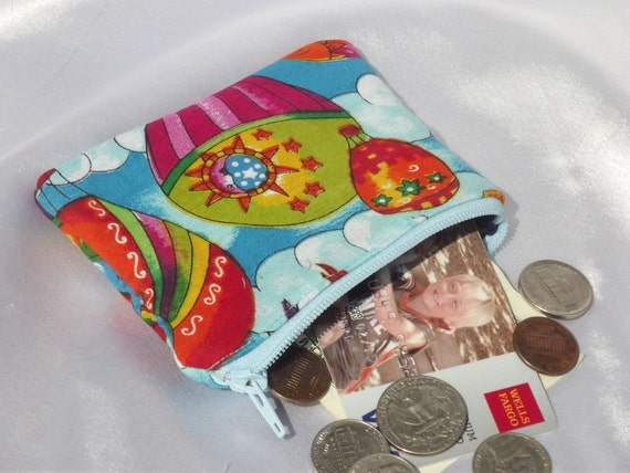50% off Hot Air Ballon Coin Pouch, Padded, Zippered