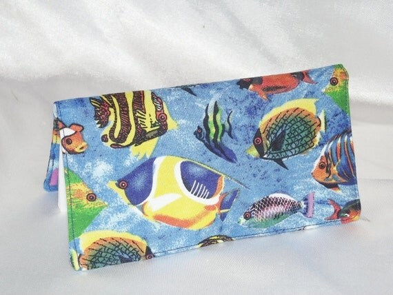 Checkbook Cover -  Tropical Fish  - Fabric Checkbook Cover, Coupon Holder, Organizer