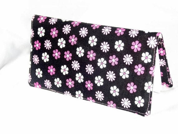 Checkbook Cover -  Pink and White Flowers on Black - Fabric Checkbook Cover - Unique Bridesmaid Gifts