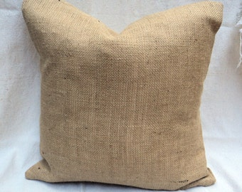 Set of 3 Burlap Euro Pillows Burlap Shams Burlap Pillow Covers Country Chic Home Decor Pillow Covers