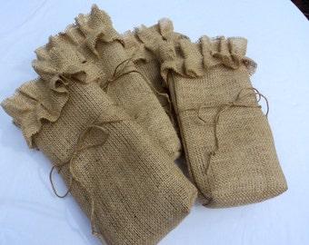 Burlap Wine Bag Rustic Bag Hostess Gift Bottle Holder Bridesmaids Gifts Rustic Wedding Favors