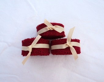 """Burlap Ribbon in Red,  1"""" Wide, 3 Yards Stitched"""