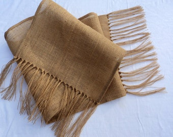 Burlap Table Runner with Fringe
