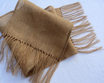 """Natural Burlap Table Runner with Fringe 16"""" or 18"""" Wide Many Lengths Available or Custom Sizes Rustic Chic Home Decor"""