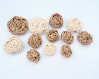 6 Burlap Flowers Natural and Ivory Assorted Sizes Burlap Roses Rustic Flowers