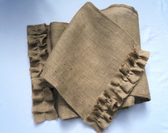 Rustic Table Runner with Ruffles Burlap Table Runner Custom Sizes Available Farmhouse Table Settings Fall Table Runner