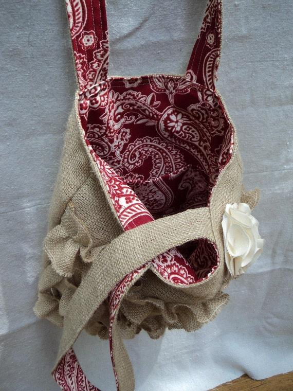 Burlap Purse French Market Bag