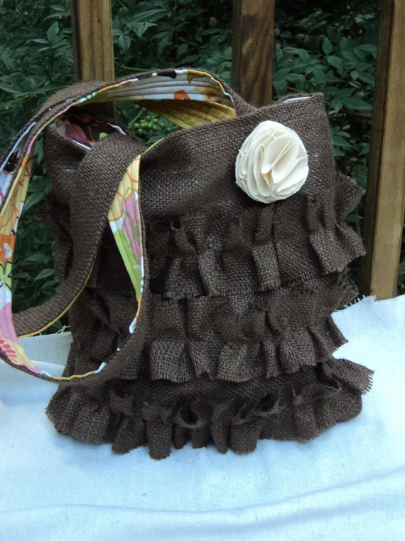 Burlap Purse Burlap Tote Purse with Ruffles Chocolate Brown Floral Lining
