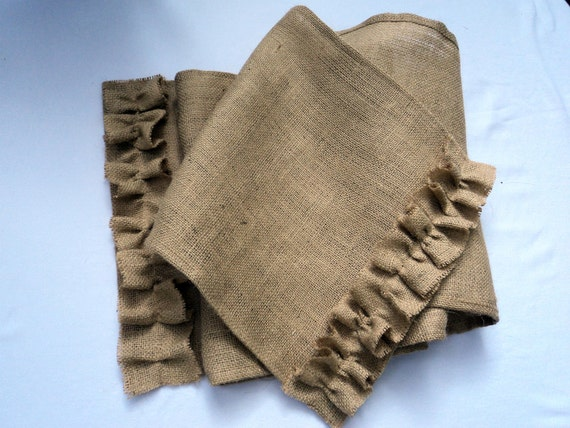 """Burlap Table Runner with Ruffles 72"""" up to 168"""" or Custom Size Available Rustic Home Decor Cottage Style Decor Coastal Home Decoration"""