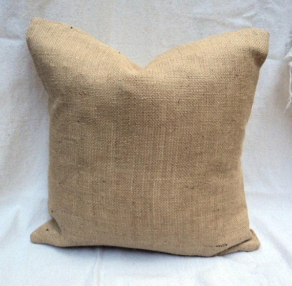 Burlap Throw Pillows Etsy : Lined Burlap Euro Shams Burlap Pillow 26 x 26