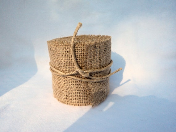 "Burlap Ribbon  Stitched 3"" wide Rustic Wedding Ribbon"