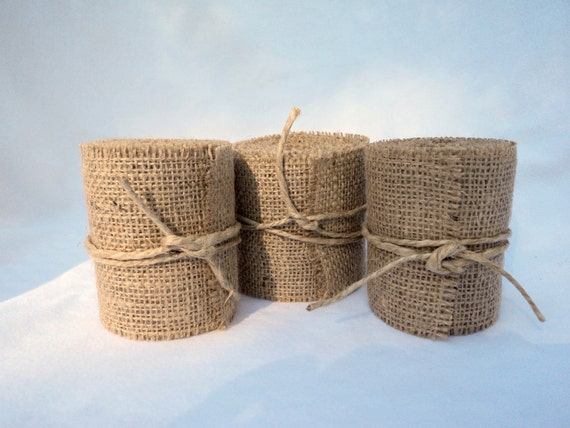 "3"" Burlap Ribbon Rustic Weddings Home Decor 12 Yards"