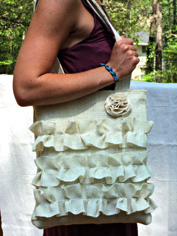 Burlap Purse Brides Bag Ruffled Tote