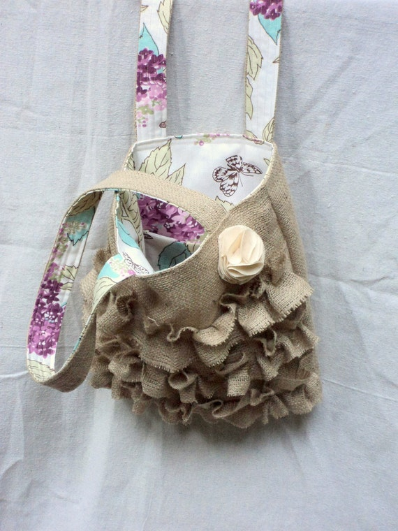 Burlap Purse with Ruffles French Market Bag