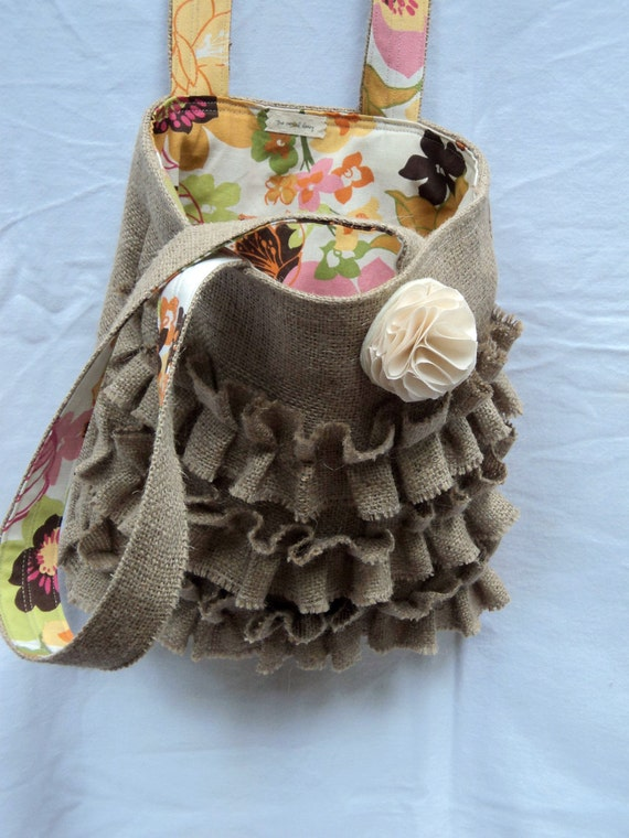 Burlap Purse Ruffled Tote Burlap Bag