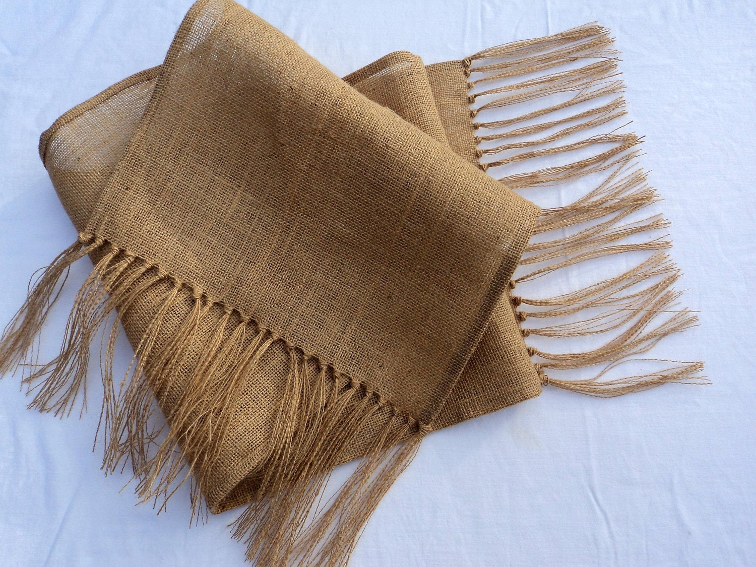 Burlap Table Runner with Fringe by theruffleddaisy on Etsy