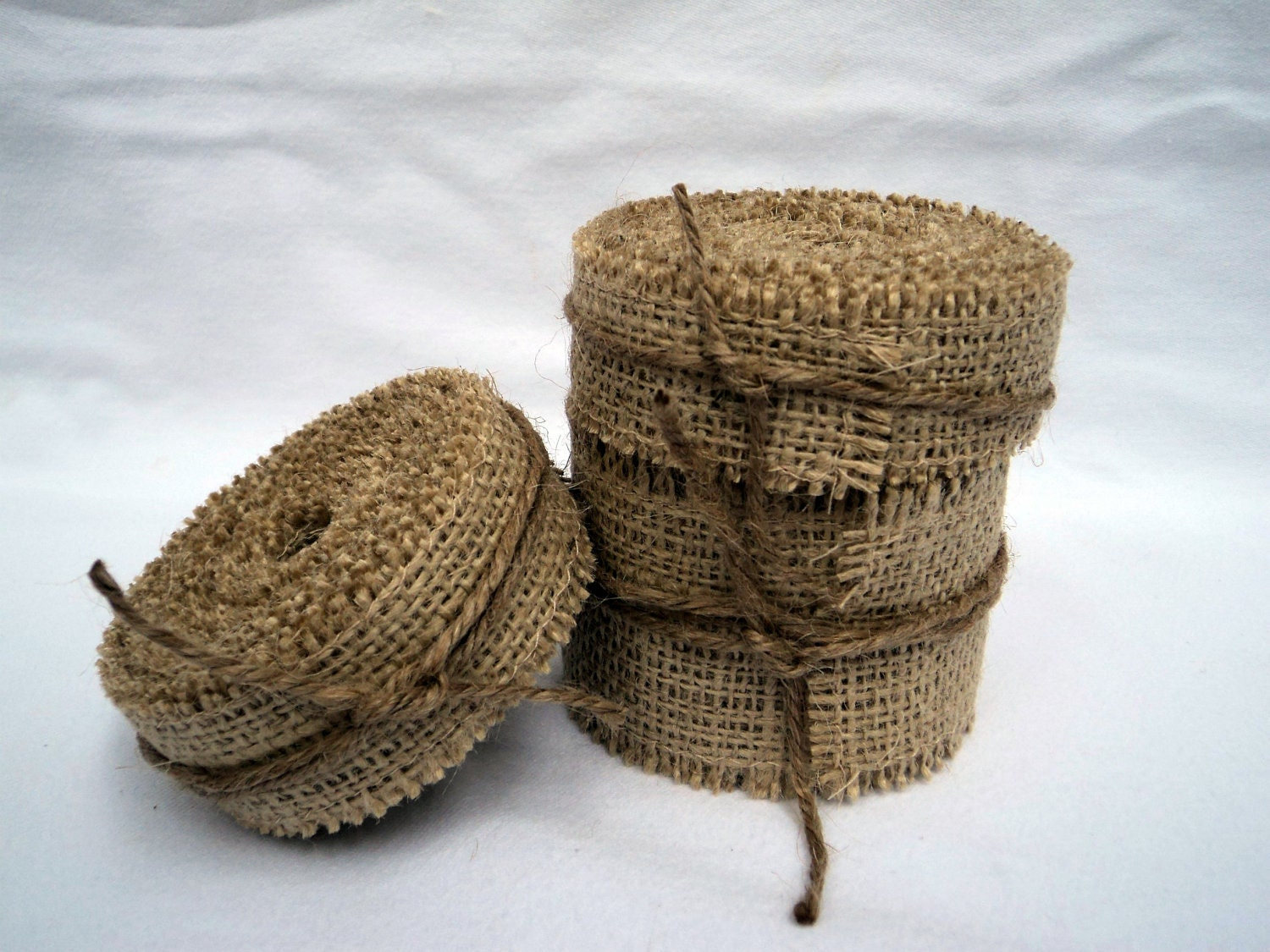 Burlap ribbon stitched 1 1 2 wide 5 yards rustic wedding for How to use burlap ribbon