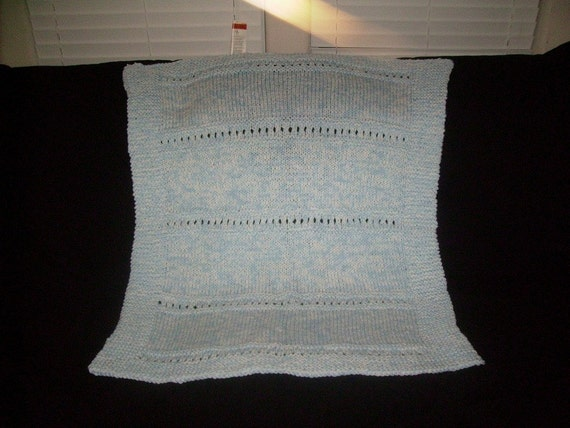 Blue and White Knitted Baby Afghan