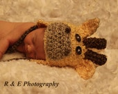 Baby Giraffe Hat (sizes available nb, 1-3mos, 3-6mos, 6-12mos)