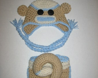 Newborn Sock monkey hat and diaper cover set with removable tail (solid tan with blue)