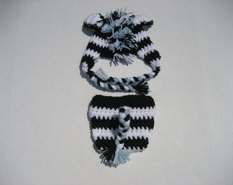 Newborn Zebra hat and diaper set (more colors available - sizes nb, 1-3mos, 3-6mos)