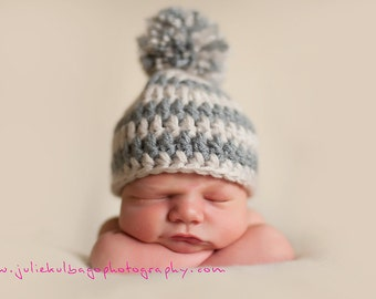 Newborn Baby Boy Photography Prop Striped Hat Beanie in Grays with pom-pom (sizes nb, 1-3mos, 3-6mos, and 6-12mos)