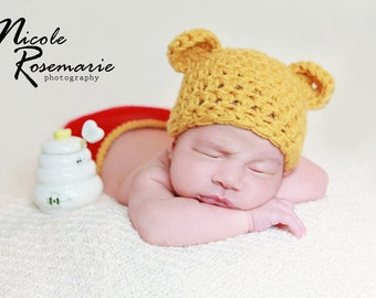 Newborn winnie the pooh hat with diaper cover - great photography set